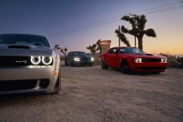 2019 Dodge Challenger SRT Hellcat Redeye Widebody, Charger SRT Hellcat, Challenger R/T Scat Pack Widebody (from left to right)