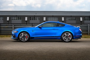 After a 17-year hiatus, the all-new Mustang Mach 1 fastback coupe makes its world premiere - becoming the modern pinnacle of style, handling and 5.0-liter V-8 pony car performance.